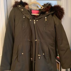 Betsey Johnson Winter Coat with colored faux fur